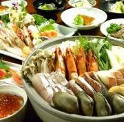 海鮮寄席鍋、又は海鮮焼きを選べ、牛ロースステーキ、かすべなど北海道の美味しい旬の料理10品を存分に愉しめるコースです。